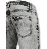 TRUE RISE Biker skinny jeans heren - Grijze jeans mannen - 800-11