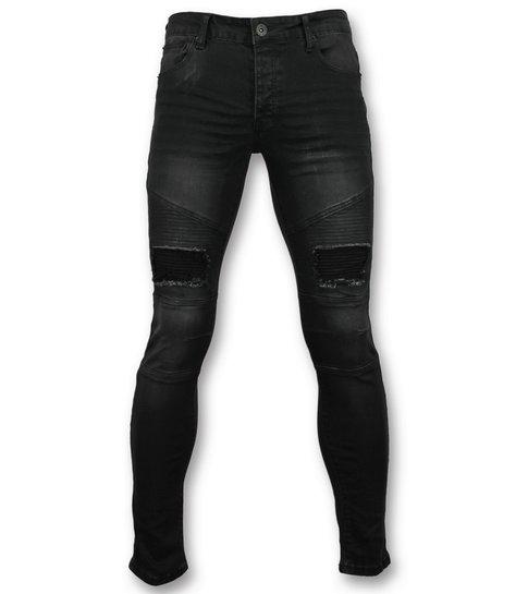 TRUE RISE Zwarte slim fit jeans  - Biker jeans voor mannen - 3013