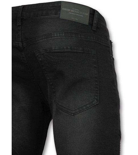 New Stone Zwarte slim fit jeans  - Biker jeans voor mannen - 3013