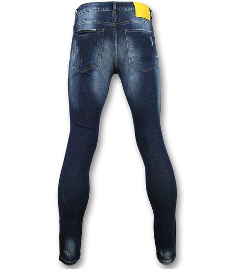 Addict Jeans met patches heren - Spijkerbroek met verfspatten mannen - 056 - Blauw