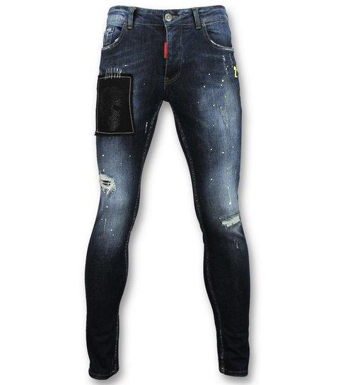 Addict Spijkerbroek met verfvlekken - Skinny jeans voor heren - 052 - Blauw