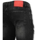Addict Spijkerbroek met verfspatten heren - Mannen in skinny jeans - 058 - Zwart
