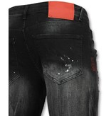 Addict Jeans verfspatten heren - Zwarte skinny Spijkerbroek mannen - 029 - Zwart