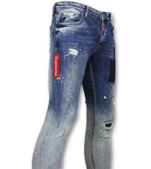 JUSTING Jeans slim Mannen - Heren stretch spijkerbroek - 013 - Blauw