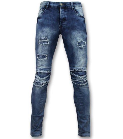 TRUE RISE Broeken met scheuren mannen  - Biker jeans heren skinny - 3002-16 - Blauw