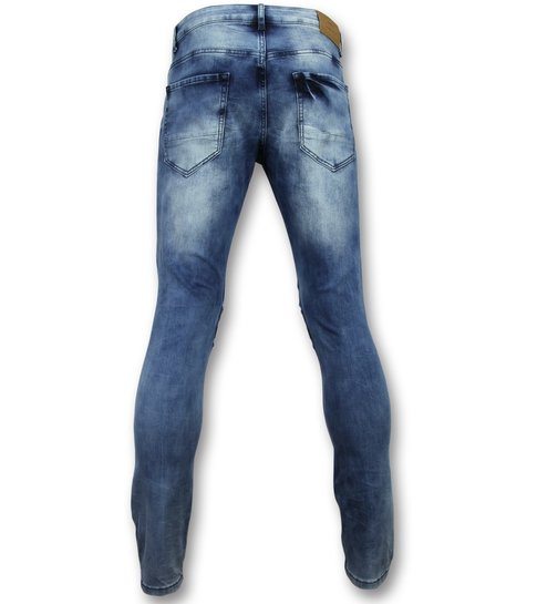 New Stone Broeken met scheuren mannen  - Biker jeans heren skinny - 3002-16 - Blauw