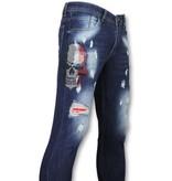 Mario Morato Skinny Heren Jeans - Mannen Spijkerbroeken - Skull Color 1514 - Blauw
