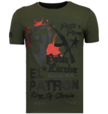 Local Fanatic El Patron Pablo - Rhinestone T-shirt - Khaki