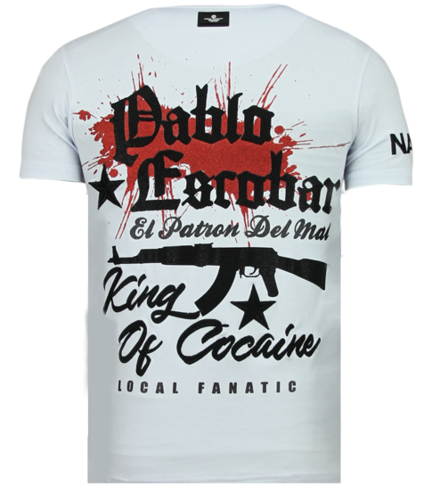 Local Fanatic El Patron Pablo - Rhinestone T-shirt - Wit