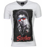 Local Fanatic Scarface Headphone Print - T-shirt - Wit