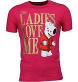 Mascherano T-shirt - The Ladies Love Me Print - Roze
