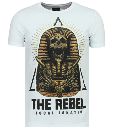 Local Fanatic Rebel Pharaoh - Exclusieve T shirt Heren - 6322W - Wit