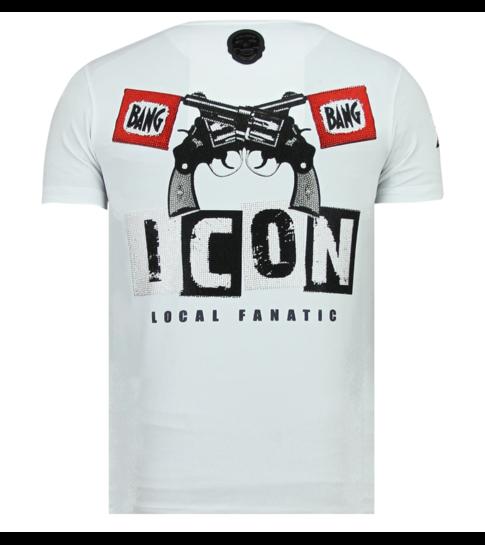 Local Fanatic Hero Mask - Luxe T shirt Heren - 6323W - Wit