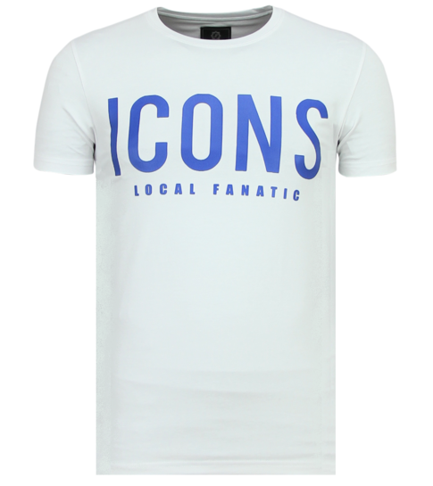 Local Fanatic ICONS - Coole T shirt Heren - 6361W - Wit