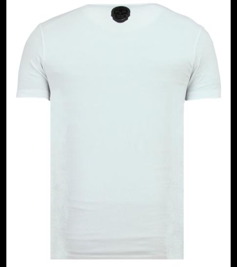 Local Fanatic Skull Glitter - Zomer T shirt Heren - 6338W - Wit