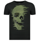 Local Fanatic Skull Glitter - Carnaval T shirt Heren - 6338Z - Zwart
