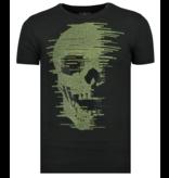 Local Fanatic Skull Glitter -  T shirt Heren - 6338Z - Zwart