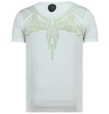 Local Fanatic Eagle Glitter - Strakke T shirt Heren - 6359W - Wit
