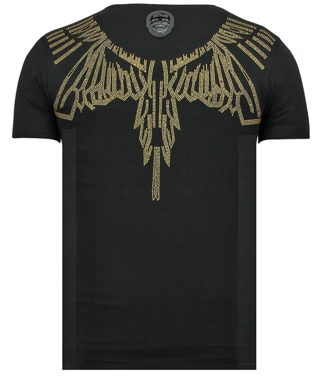 Local Fanatic Eagle Glitter - Fun T shirt Heren - 6359Z - Zwart