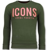 Local Fanatic ICONS - Merk Sweater Mannen - 6349G - Groen
