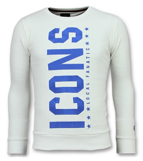 Local Fanatic ICONS  Vertical - Coole Sweater Heren - 6353W - Wit