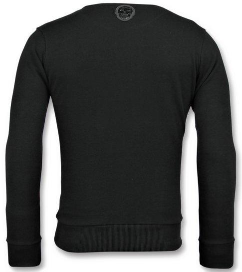 Local Fanatic ICONS  Vertical - Grappige Sweater Heren - 6353Z - Zwart