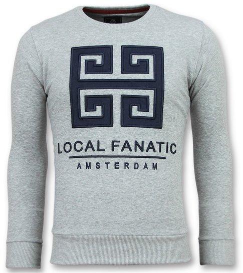 Local Fanatic Greek Border - Leuke Sweater Mannen - 6350G - Grijs