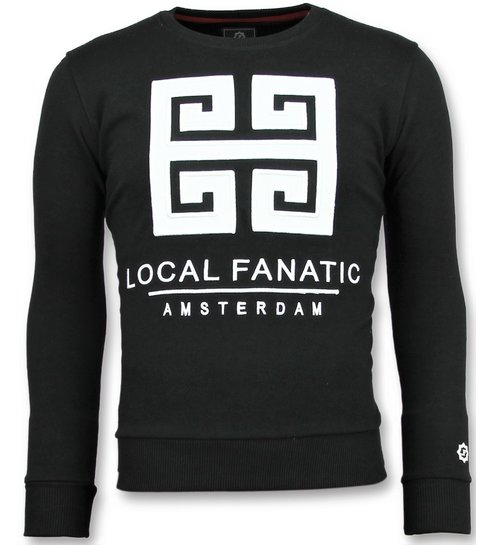 Local Fanatic Greek Border - Leuke Sweater Heren - 6350Z - Zwart