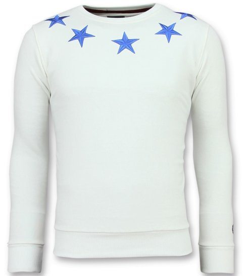Local Fanatic Five Stars - Exclusieve Sweater Heren - 6354W - Wit