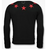 Local Fanatic Five Stars - Exclusieve Sweater Mannen - 6354Z - Zwart