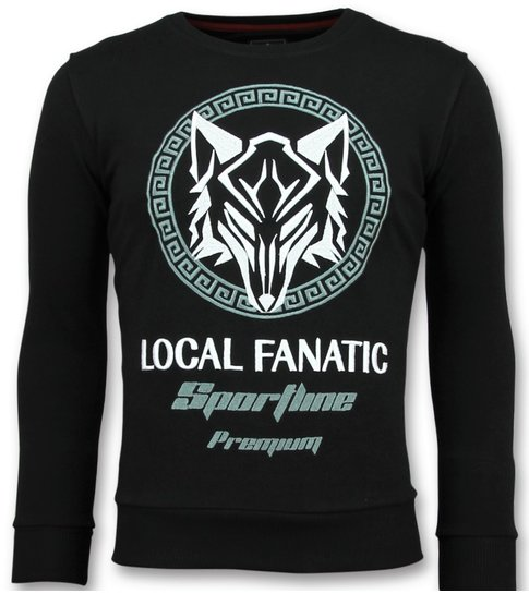 Local Fanatic Sportline Wolf - Stoere Sweater Mannen - 6357Z - Zwart