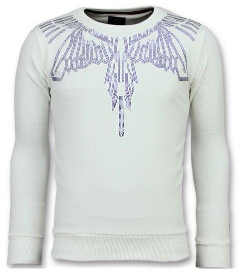 Local Fanatic Eagle Glitter - Merk Sweater Heren - 6340W - Wit