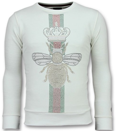 Local Fanatic King Fly Glitter - Exclusieve Sweater Heren - 6342W - Wit
