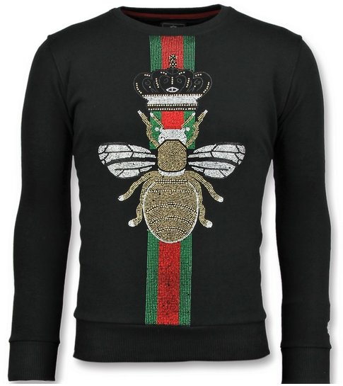 Local Fanatic King Fly Glitter - Exclusieve Sweater Mannen - 6342Z - Zwart