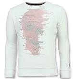 Local Fanatic Skull Glitter - Leuke Sweater Heren - 6343W - Wit