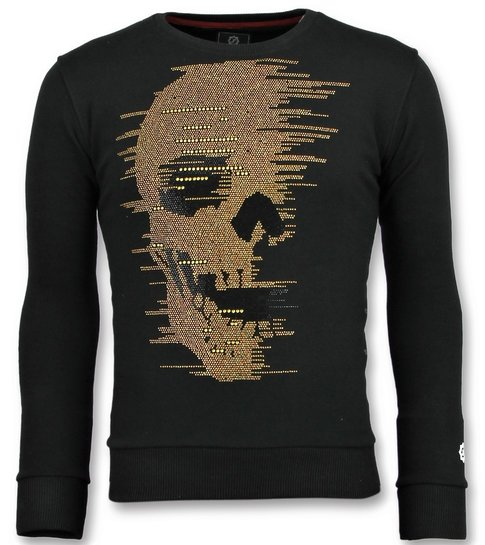 Local Fanatic Skull Glitter - Leuke Sweater Mannen - 6343Z - Zwart