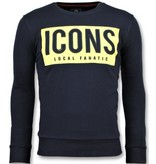 Local Fanatic ICONS Block - Funny Sweater Mannen - 6355B - Navy