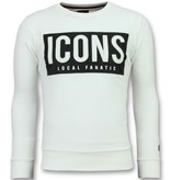Local Fanatic ICONS Block - Coole Sweater Mannen - 6355W - Wit