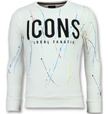 Local Fanatic ICONS Painted - Funny Sweater Heren - 6341W - Wit