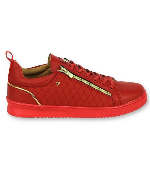 Cash Money Luxe Heren Sneakers - Mannen Jailor Red Gold - CMS97 - Rood