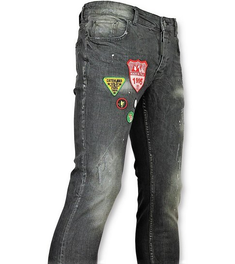 JUSTING Jeans patches Mannen - Spijkerbroek verfspatten Heren - 57- Grijs