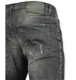 Addict Jeans patches Mannen - Spijkerbroek verfspatten Heren - 57- Grijs