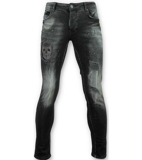 Addict Zwarte skinny jeans met patches heren - 059