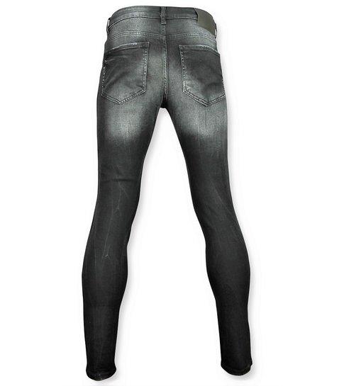 JUSTING Zwarte skinny jeans met patches heren - 059