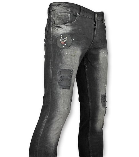 JUSTING Zwarte spijkerbroek met Patches heren - 045
