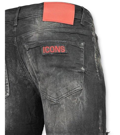 Addict Zwarte spijkerbroek met Patches heren - 045