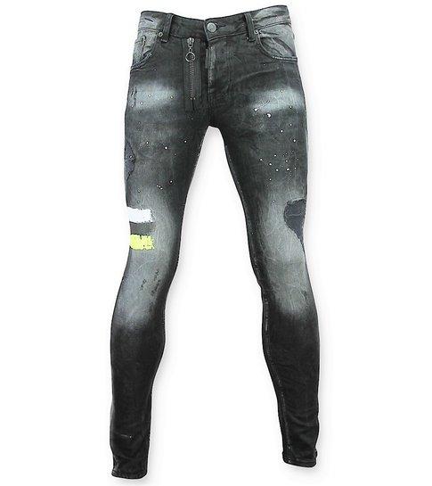 Addict Heren Spijkerbroek met verfvlekken  - 039 - Zwart