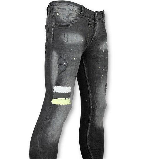 JUSTING Heren Spijkerbroek met verfvlekken  - 039 - Zwart
