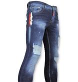 Addict Blauwe broek met verfspatten heren  - 035