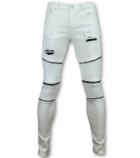 Witte biker skinny jeans heren Mannen broek 3017 1